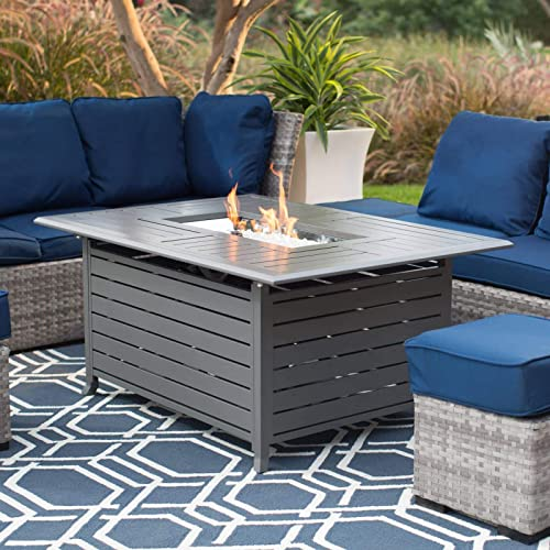 Outdoor Patio Propane Gas Fire Pit Table Rectangle