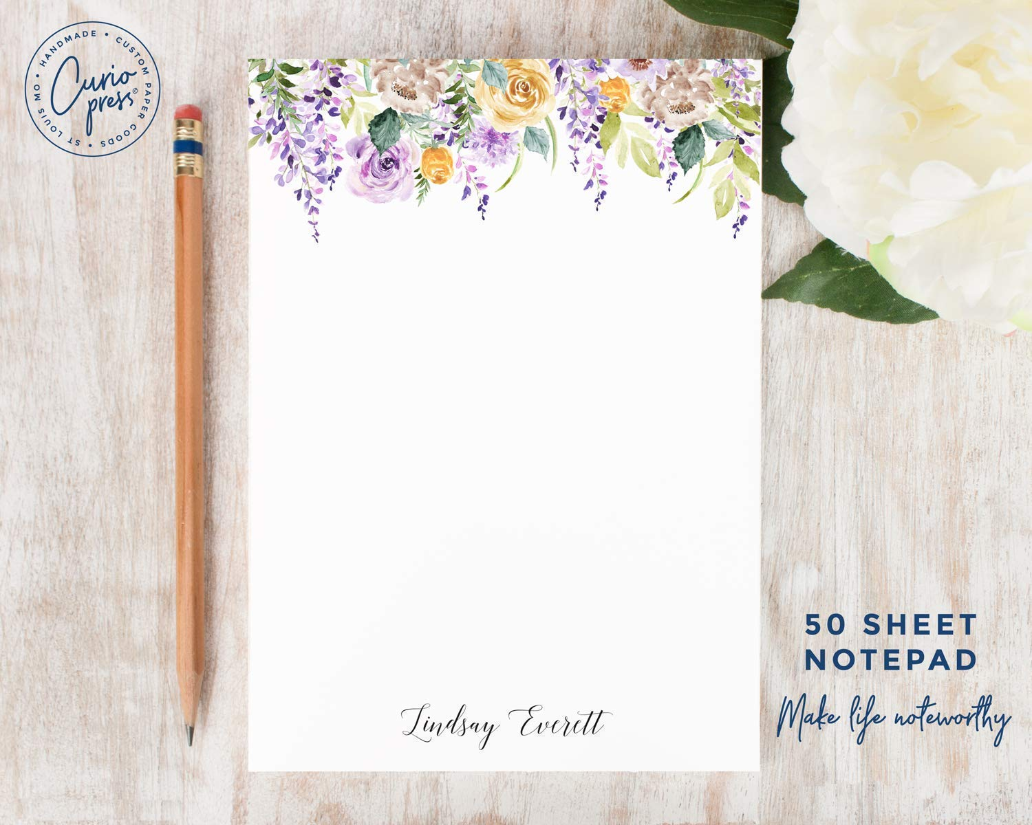 Purple Flowers Notepad Personalized Floral Stationery Stationary 5x7 Or 8x10 Note Pad Stationery Surclima Handmade Products