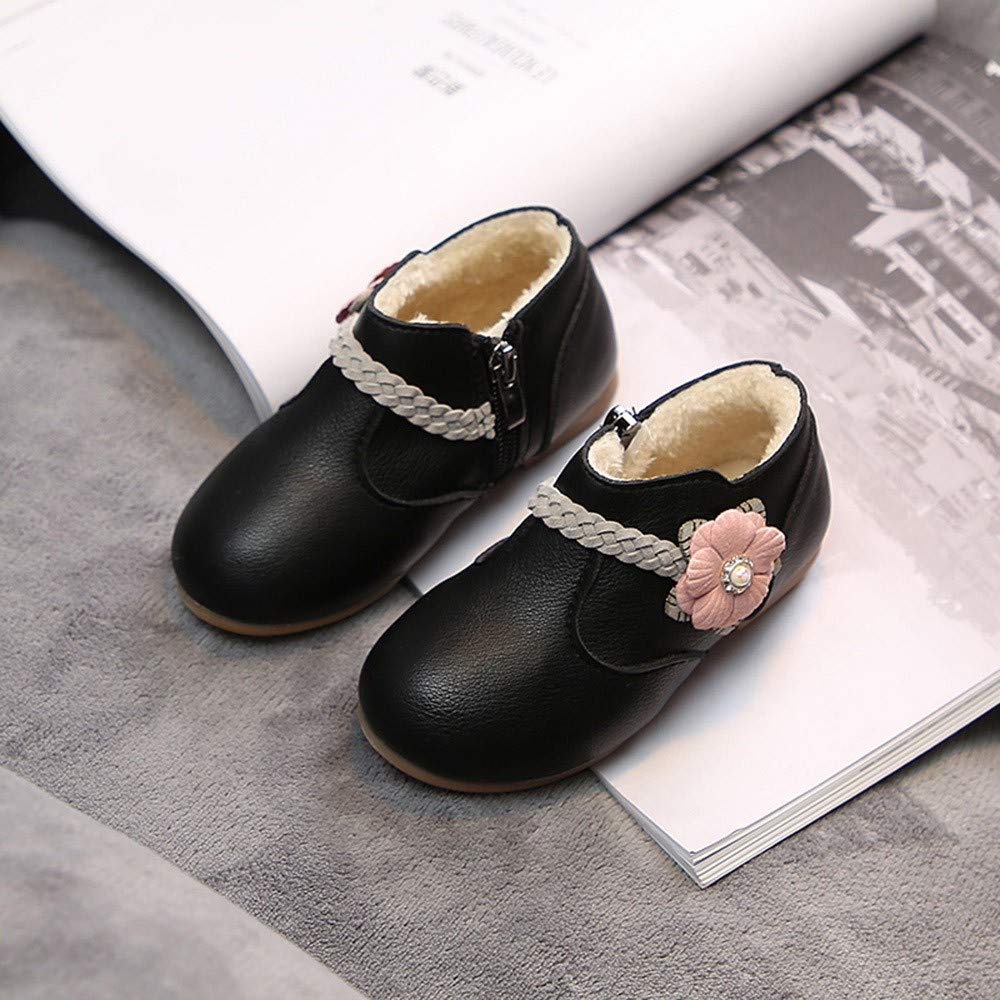 AgrinTol Winter Warm?Children Kid Girls Solid Flower Weave Princess Zip Boots Shoes