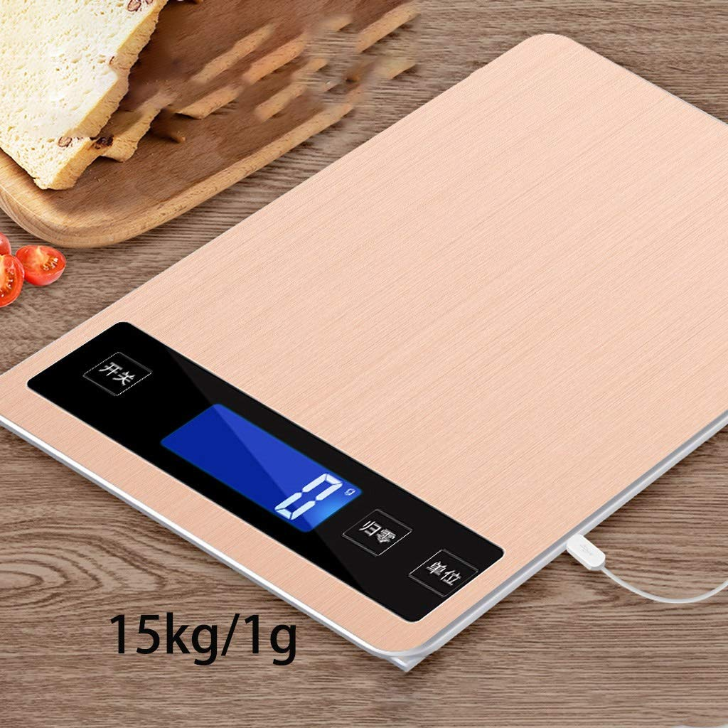 DOZ Waterproof Small Household Kitchen Scale Electronic Weighing 5kg10 Baking Gram Gram Weight high Precision Accuracy Small Scale Food (Color : Gold) by DOZ