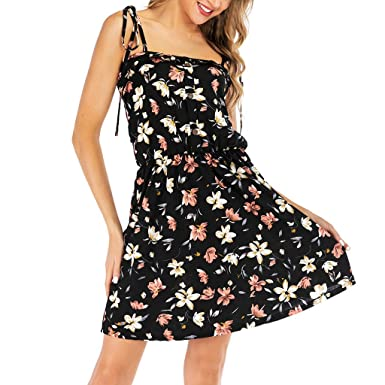DressLksnf Vestido de Mujer Verano de Estampado Floral Falda de la ...