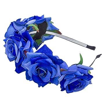 ... Hot Rose Flower Headband Festival NEW Hair Ornaments Wedding Flowers  Bride Floral Crown Party Prom Decor Princess Wreath Headpiece Royal Blue    Beauty 36e0b0445fb