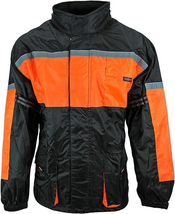Heyberry Motorrad Regenkombi Regenhose Regenjacke Schwarz Neon Orange Gr 3xl Auto