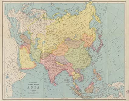 Map Of Upper Asia.Amazon Com 1940s Map Asia Bartholomews General Of Asia In Upper