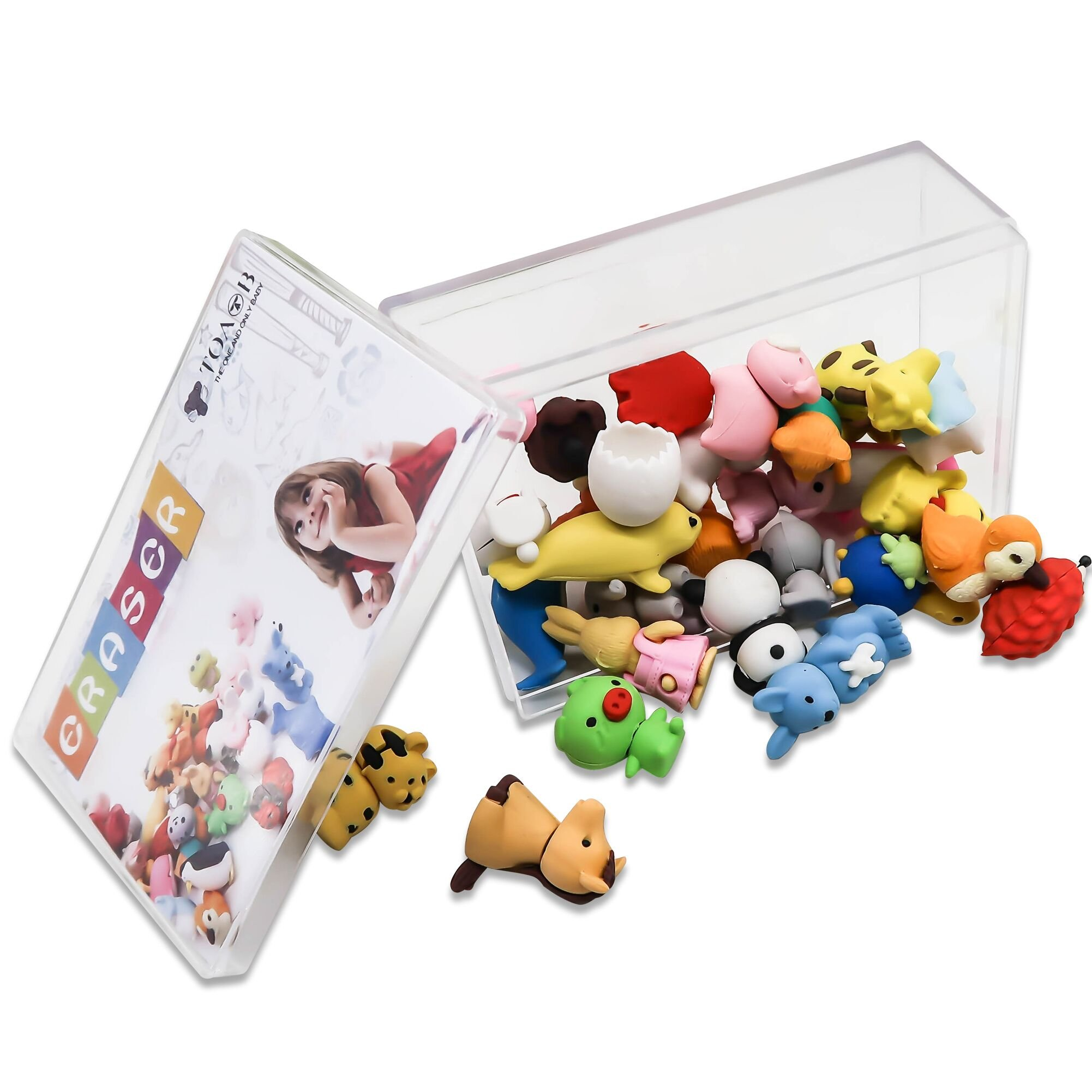 TOAOB 28pcs Adorable Puzzle Animals Erasers Non-Toxic for Kids Fun Games and Collection with Plastic Box by TOAOB (Image #4)