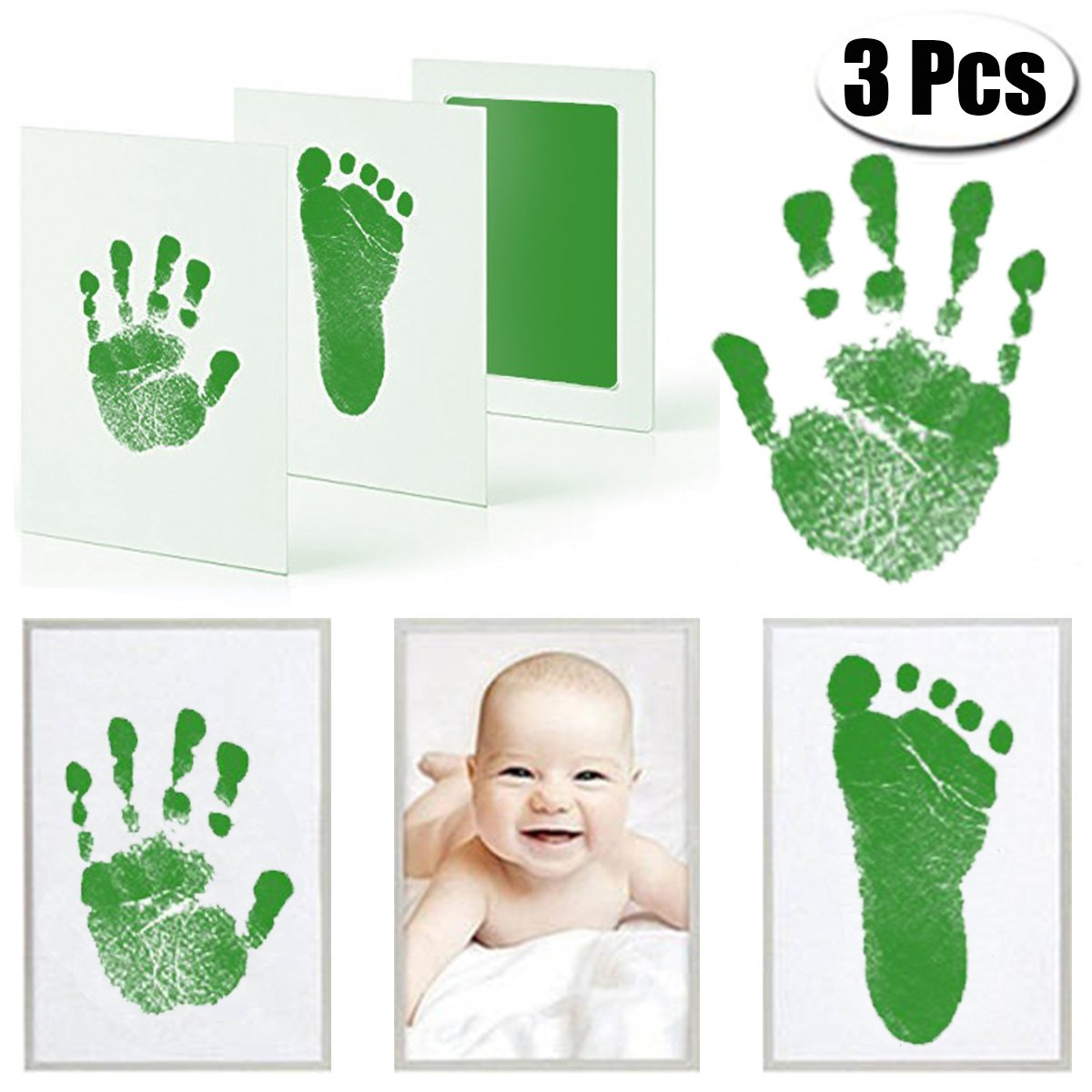 Mcree 3 Pcs Baby Ink Pad for Baby Footprints Hand prints and Fingerprints Kit with 3 Extra Large Ink Pads and 6 Imprint Cards Perfect Keep Baby Memory Baby Shower Gift (Green)