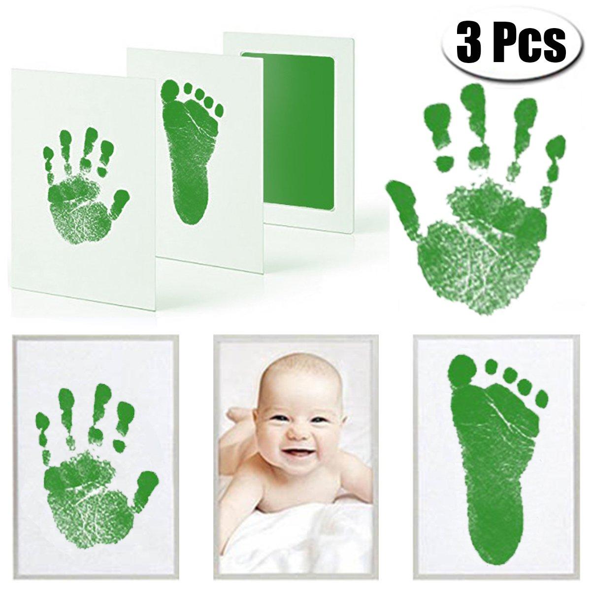 Tampon encreur Mcree pour les empruntes de pied et de main de bébé - Kit avec 3 tampons encreurs extra larges et 6 cartes à empruntes - Idéal pour garder les souvenirs de bébé ou comme cadeau pour une fête de