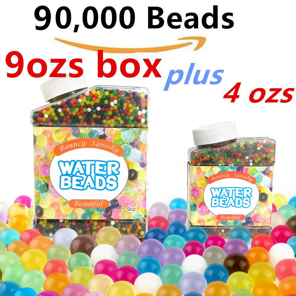 SHDLYH Water Beads Pack 14 OZS (90,000 beads) Rainbow Mix Jelly Water Growing Balls for Orbeez Spa Refill,Sensory Toys, Vases, Wedding and Home Decoration