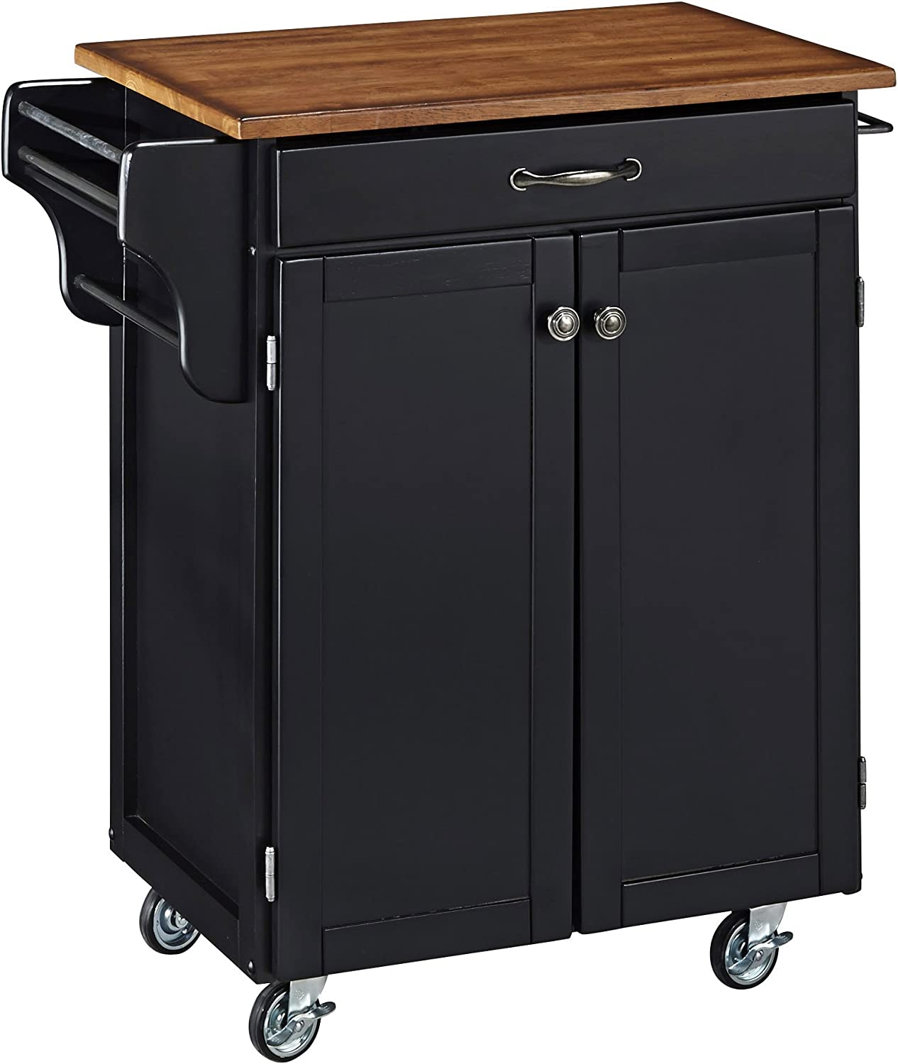 Create-a-Cart Black 2 Door Cabinet Kitchen Cart with Oak Top by Home Styles