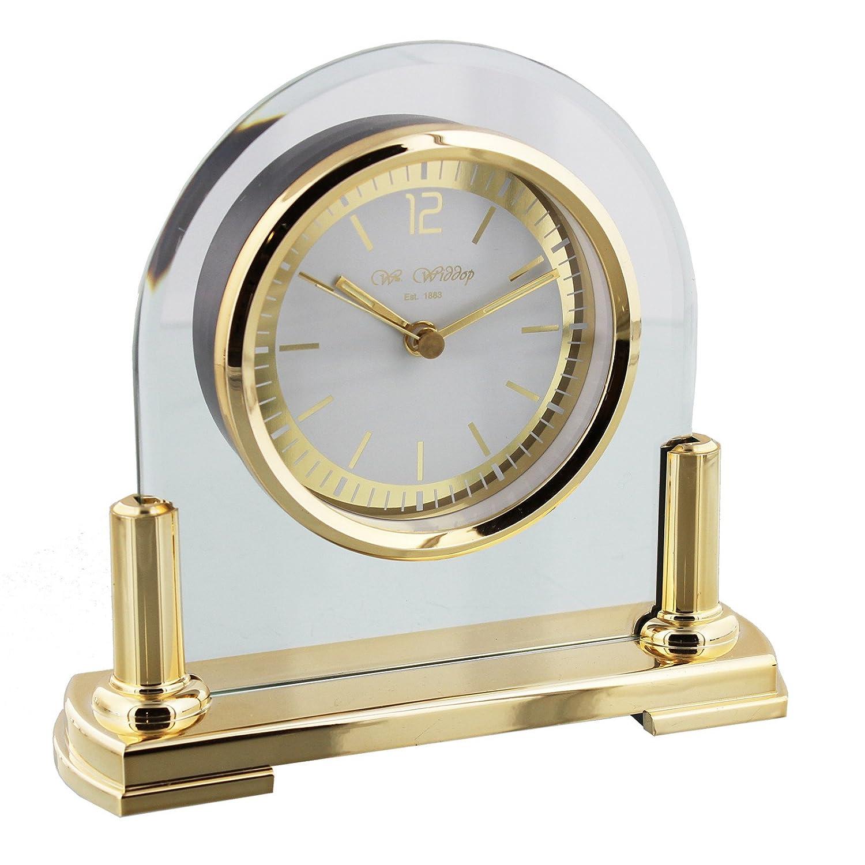Orologio da tavolo in vetro contemporaneo arco Mantel oro stand & lunetta DIW