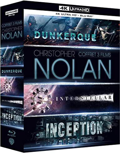 Coffret Christopher Nolan 3 Films : Dunkerque (Dunkirk) / Interstellar / Inception - Blu-Ray 4K   Blu-Ray [4K Ultra HD   Blu-ray   Digital HD]