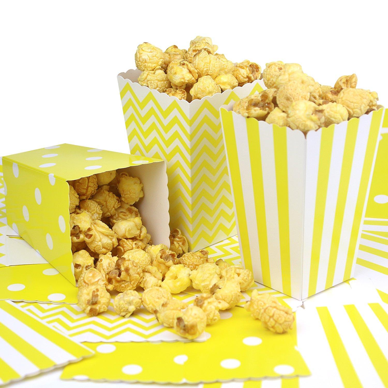 Simla Decor 36pcs Yellow Popcorn Favor Boxes for Party Movie Theater - Chevron Stripe and Polka Dot Popcorn bags