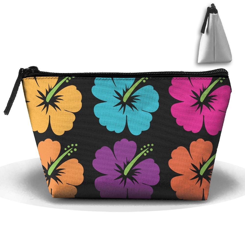 ハワイアンフラワーハイビスカス柄多機能ポータブルミニメイクアップバッグCosmetic Bag forホームオフィス旅行スポーツジムアウトドア   B078771VGP