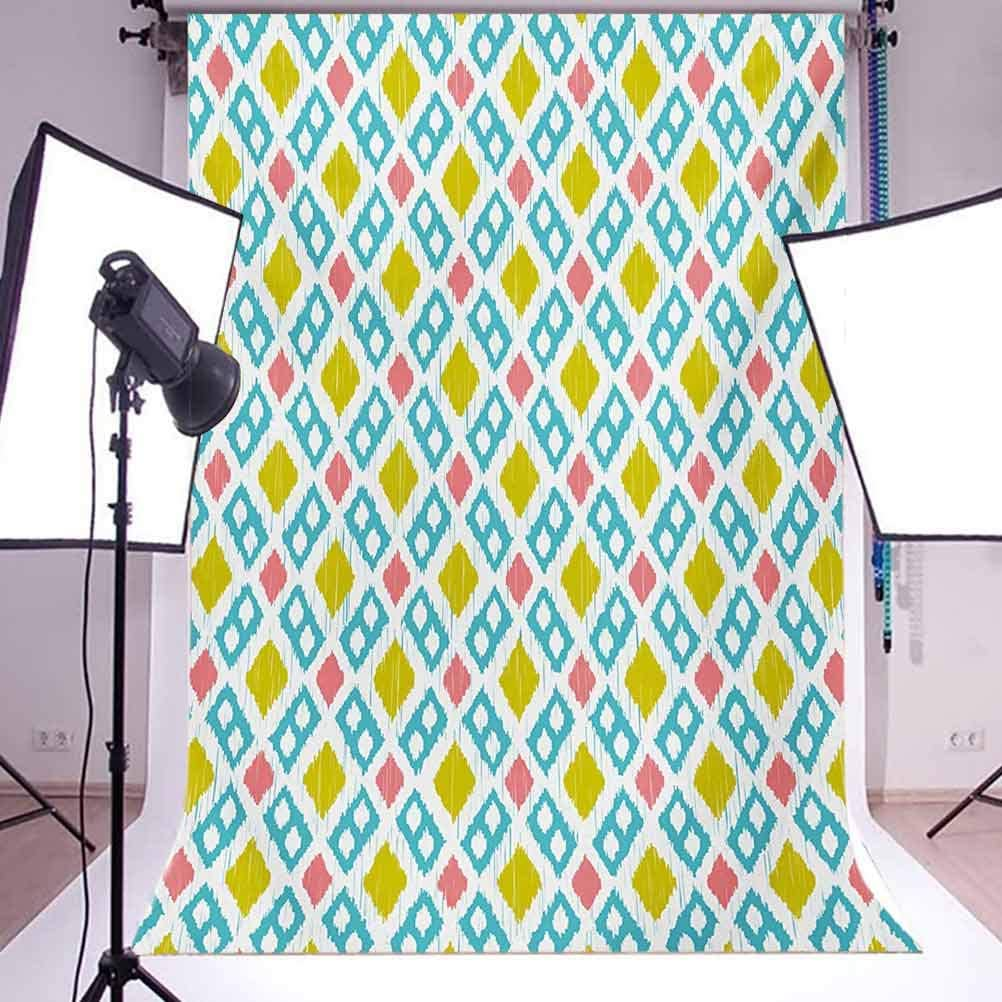 Various Sized Different Ikat Lines Blurred Vertical Axis Symmetrical Aesthetic Background for Baby Shower Birthday Wedding Bridal Shower Party Decoration Photo Studio 8x10 FT Photography Backdrop