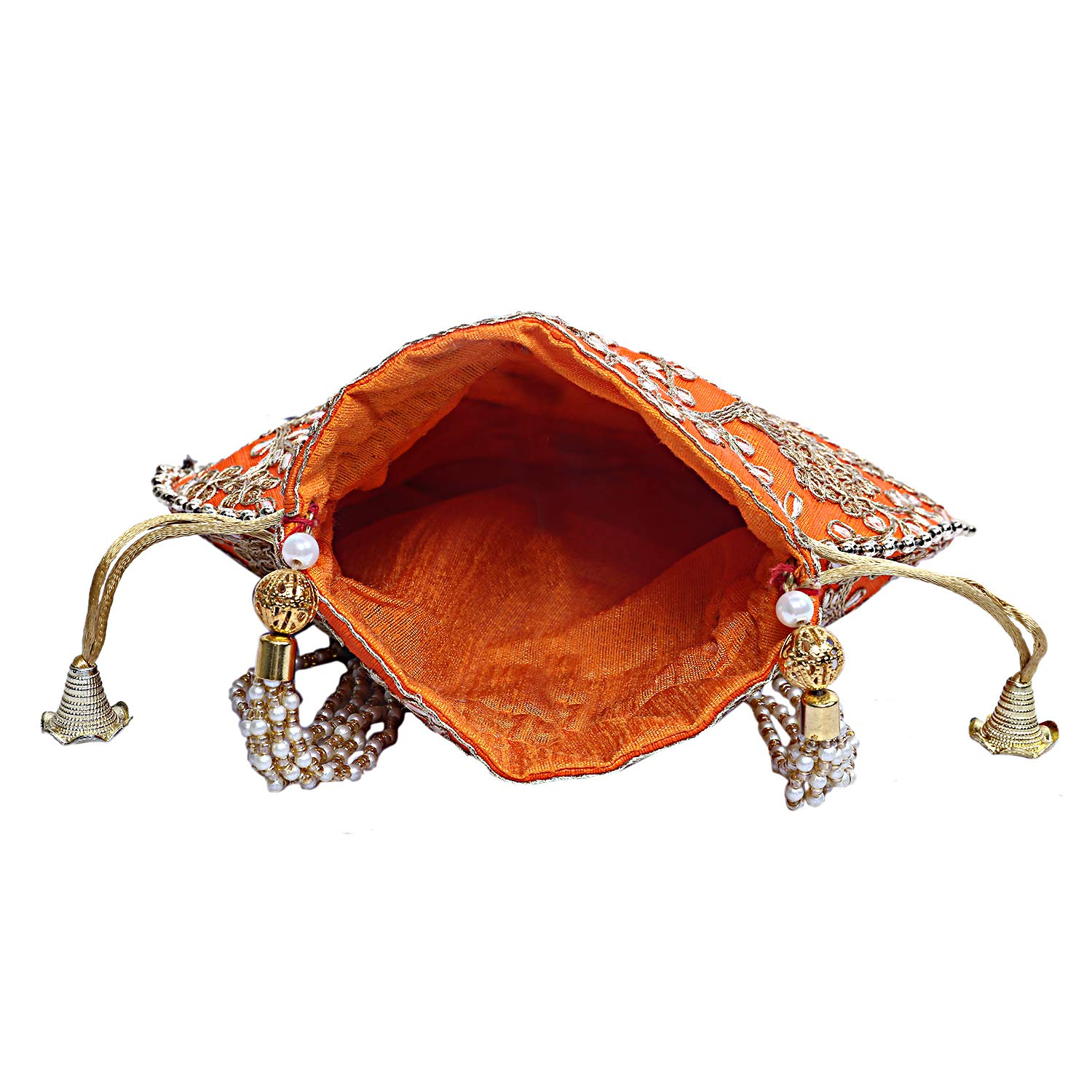 Indian Ethnic Designer Embroidered Silk Potli Bag Batwa Pearls Handle Purse Clutch Purse for Women Evening Party