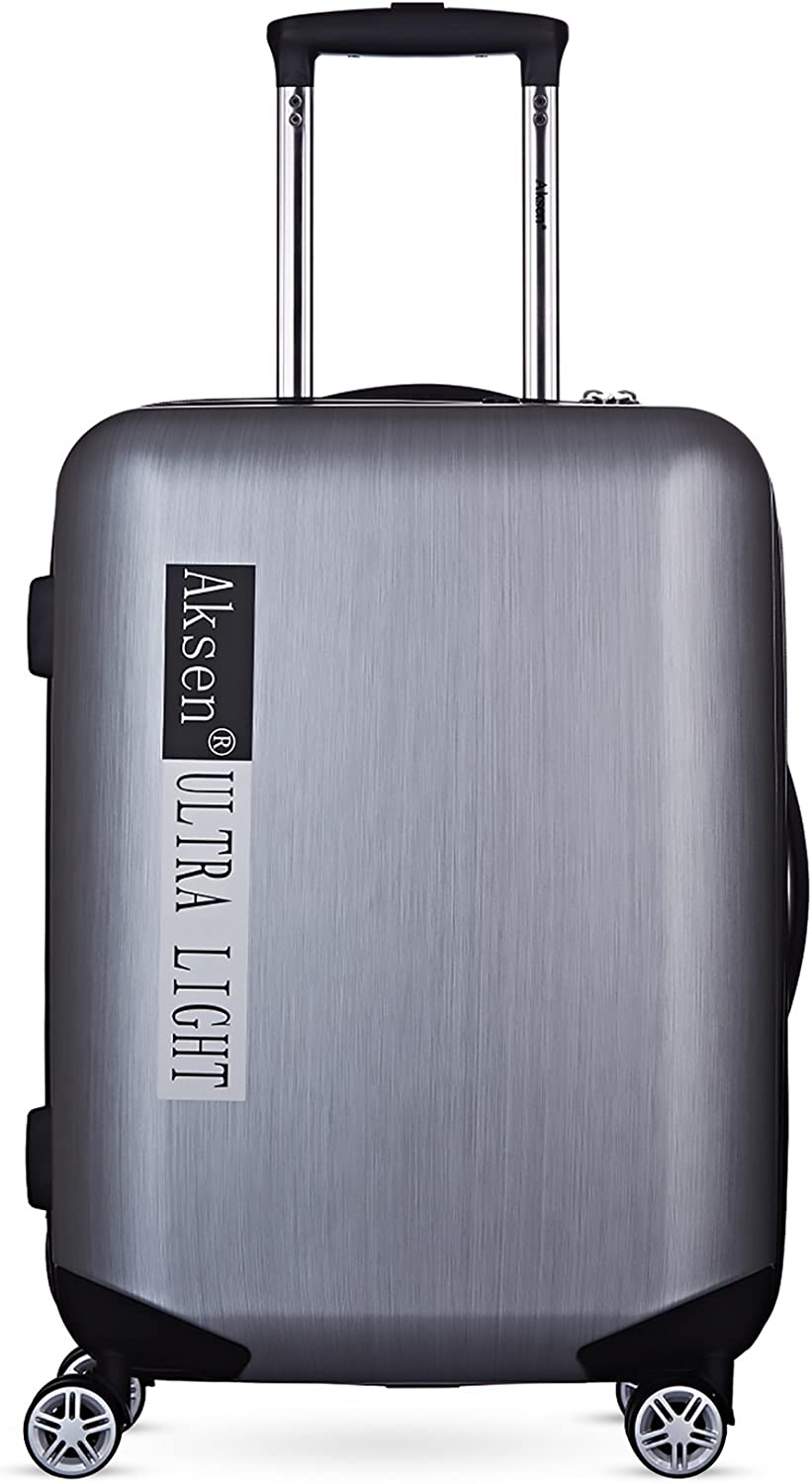 Silver Grey Carry on Lightweight Upright Hardshell Polycarbonate Rolling Extreme Spinner Trolley Durable Luggage On Wheel 22x16x8.5 w TSA Lock With Push-Button Aluminum Handle /& ABS System
