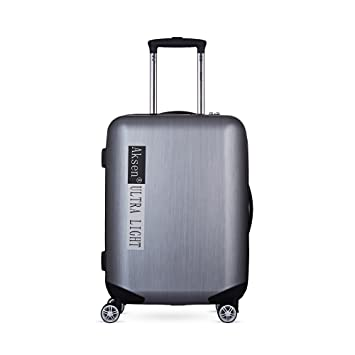 38e452c7a8 Silver Grey Carry on Lightweight Upright Hardshell Polycarbonate Rolling  Extreme Spinner Trolley Durable Luggage On Wheel