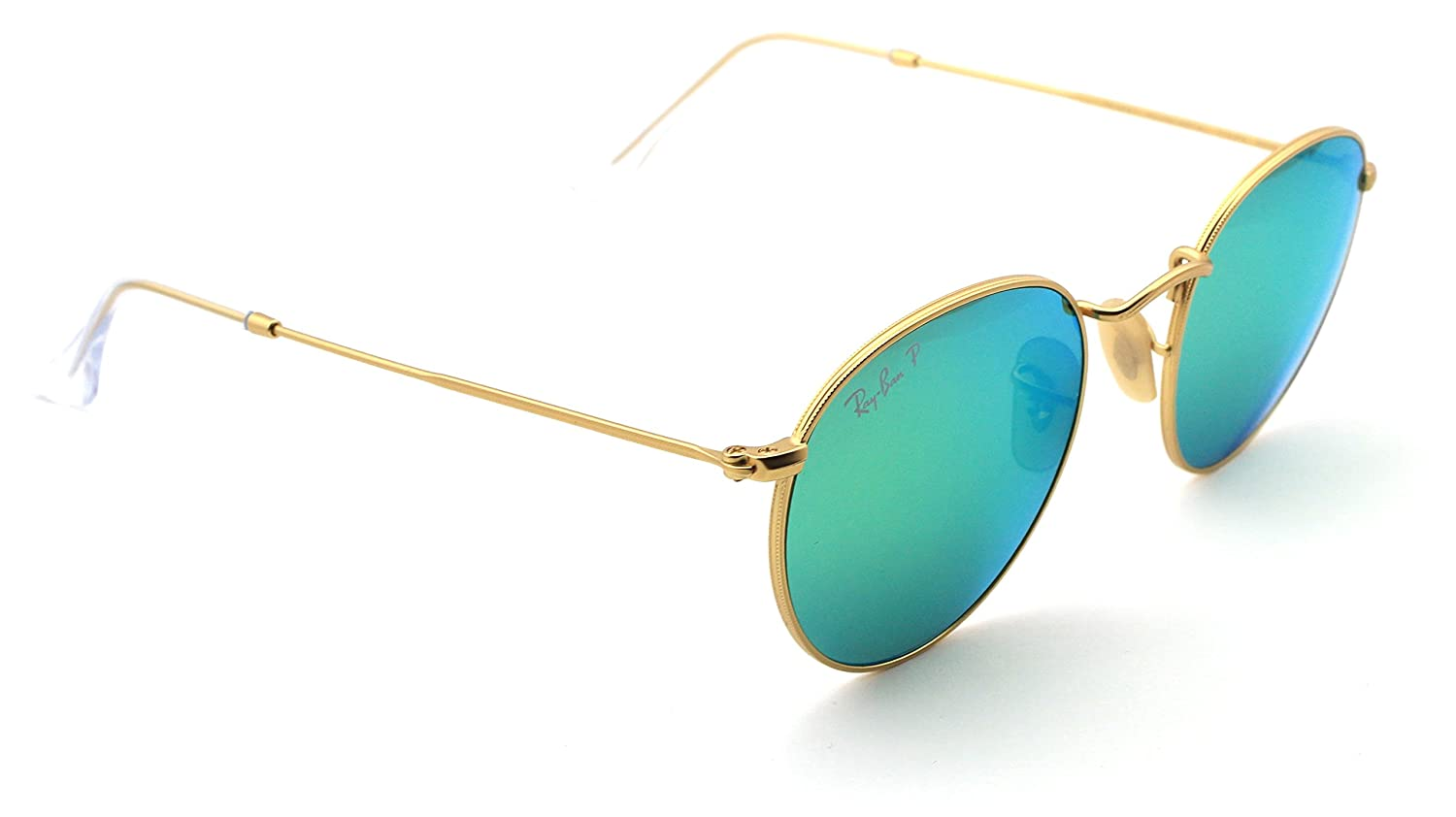 33549e6f3c Amazon.com  Ray-Ban RB3447 112 P9 Round Matte Gold Frame   Green Flash  Polarized Lens 50mm  Clothing
