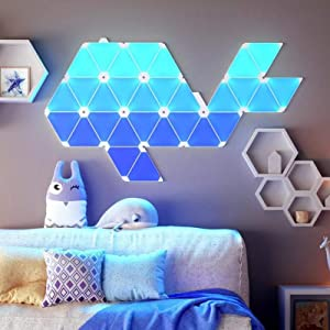 Smart Light Panels, Wall Lamp Smart Ambient Light Board, Triangle Combination, LED Quantum Light, APP Controllable, Room Background Decorative Light,9 pcs Complete Set