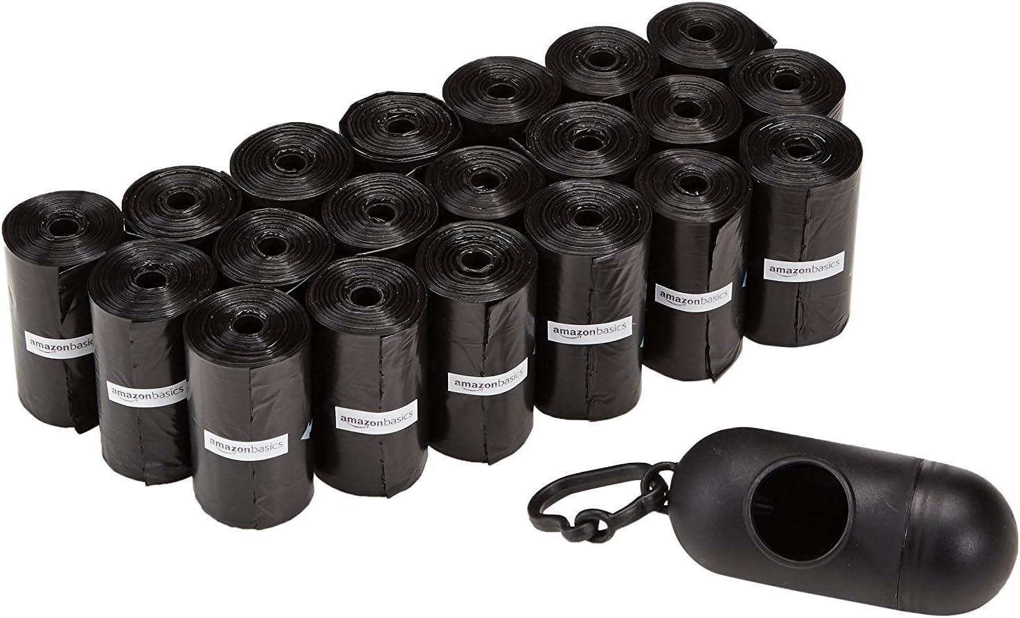 AmazonBasics - Bolsas para excrementos de perro con dispensador y clip para correa (300 bolsas)