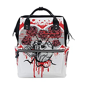 Diaper Bags Skull with Heart Grunge Nappy Bag Mummy Nursing Bag for Baby Care Traveling