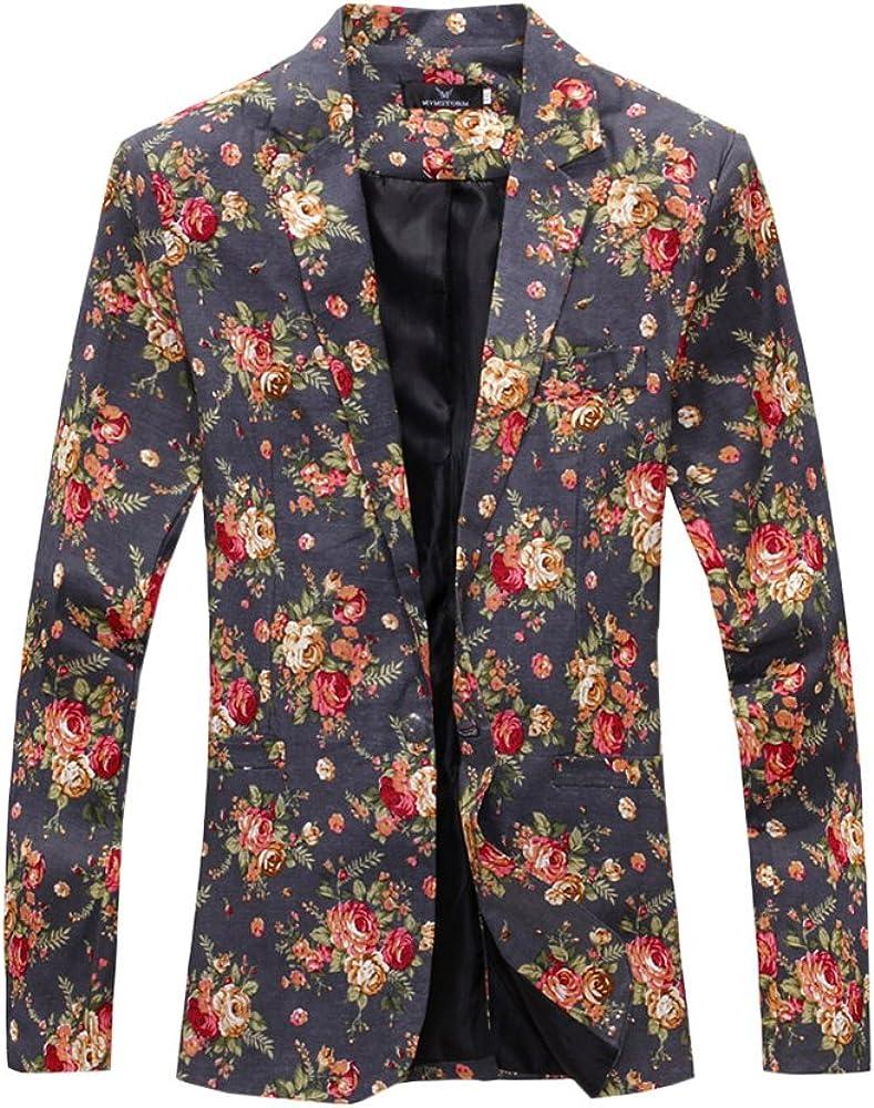 PengGeng Men Casual Suit Regular Fit Floral Prints Blazer Coats Chic Jackets One Button