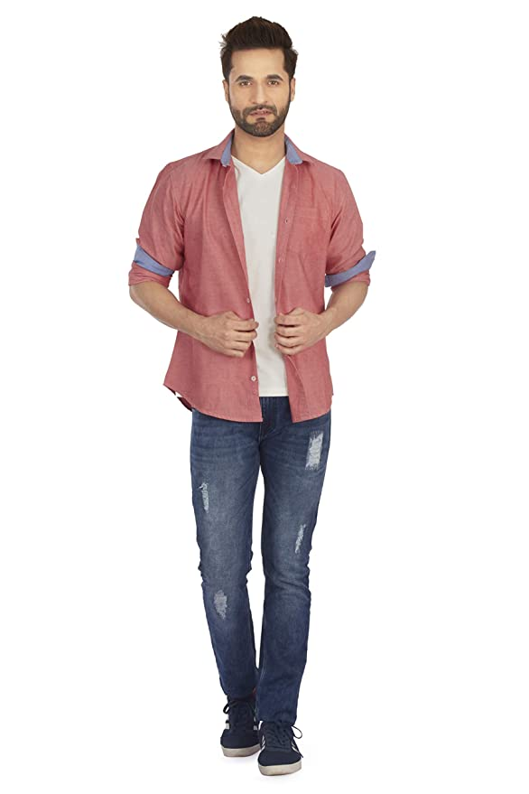 04735d7ba984 BERGAMO Men's Casual Cotton Solid Shirt - Oxford Chambray: Amazon.in:  Clothing & Accessories