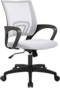 Home Office Chair Ergonomic Desk Chair Mesh Computer Chair with Lumbar Support Armrest Executive Rolling Swivel Adjustable Mid Back Task Chair for Women Adults (White)