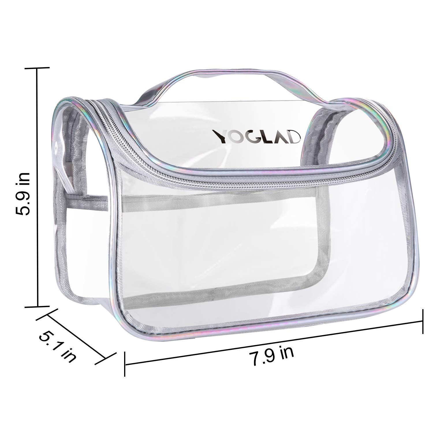 Yoglad Clear Travel TSA approved Toiletry Bag Waterproof Cosmetic Bag with Zipper Clear Makeup Bag for Women Men, Extra Large Capacity Pouch for Carry-on Luggage, Travel Essentials White