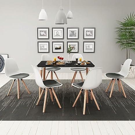 Furnituredeals 7 Pz Set Tavolo e Sedie Sala da Pranzo Nero e Bianco ...