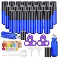 Essential Oil Roller Bottles 24 Pack Blue Color 5ml Glass Roller Bottles (95 Pieces Labels, 2 Opener, 4 Funnels, 4 Dropper) Roller Balls for Essential Oils, Roll on Bottles