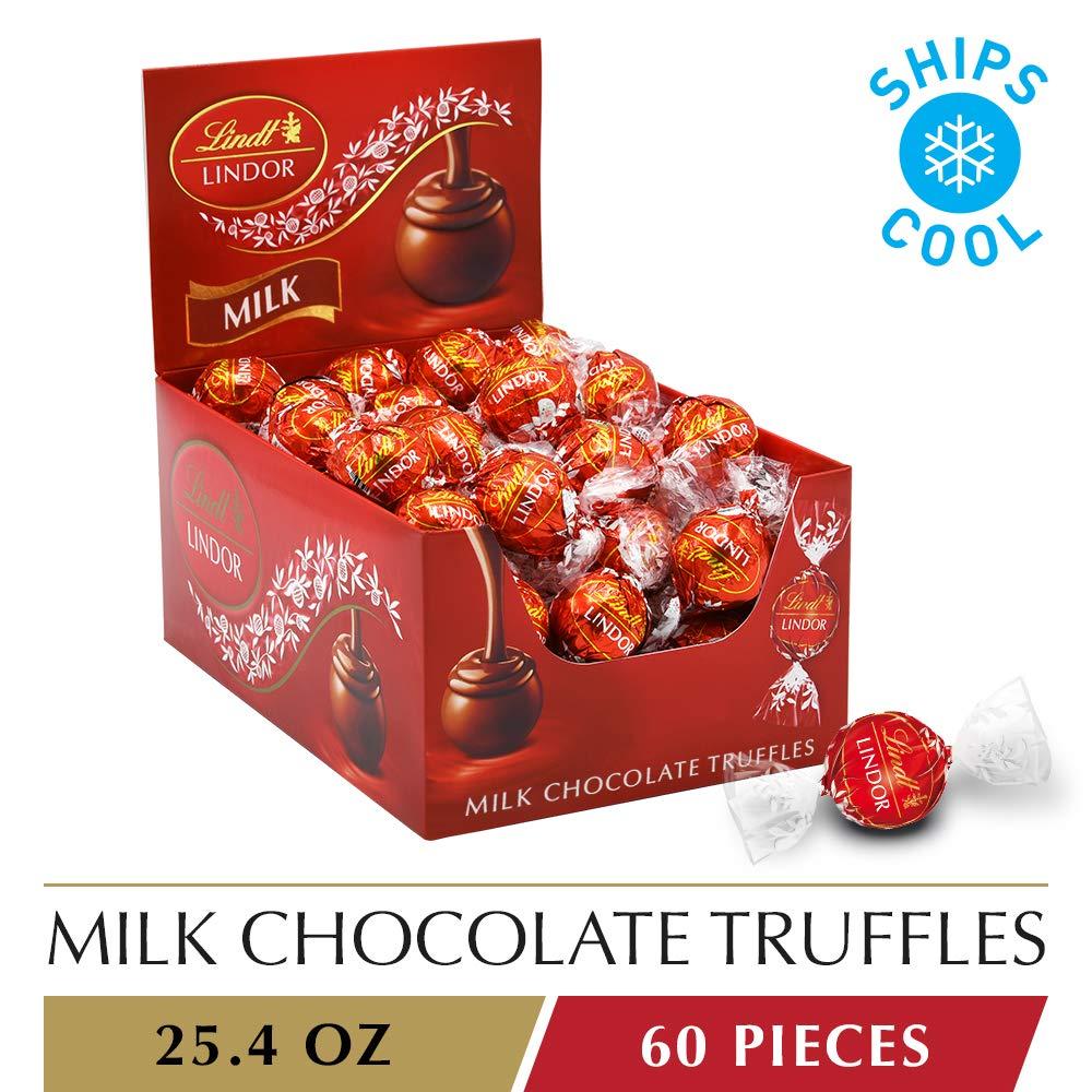 Lindt LINDOR Milk Chocolate Truffles, 60 Count Box, 25.4 Ounce