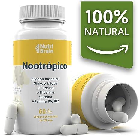 Nootrópico Natural Envase XL 60 Cápsulas | Fórmula para incrementar la energía, concentración y agilidad mental | Cafeína, Ginko Biloba, Tirosina, ...