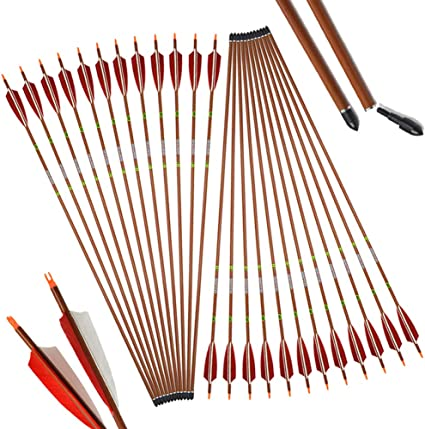 "6//12PCS Archery 31/"" Carbon Arrows /& Quiver for Recurve Compound Bow Hunting"