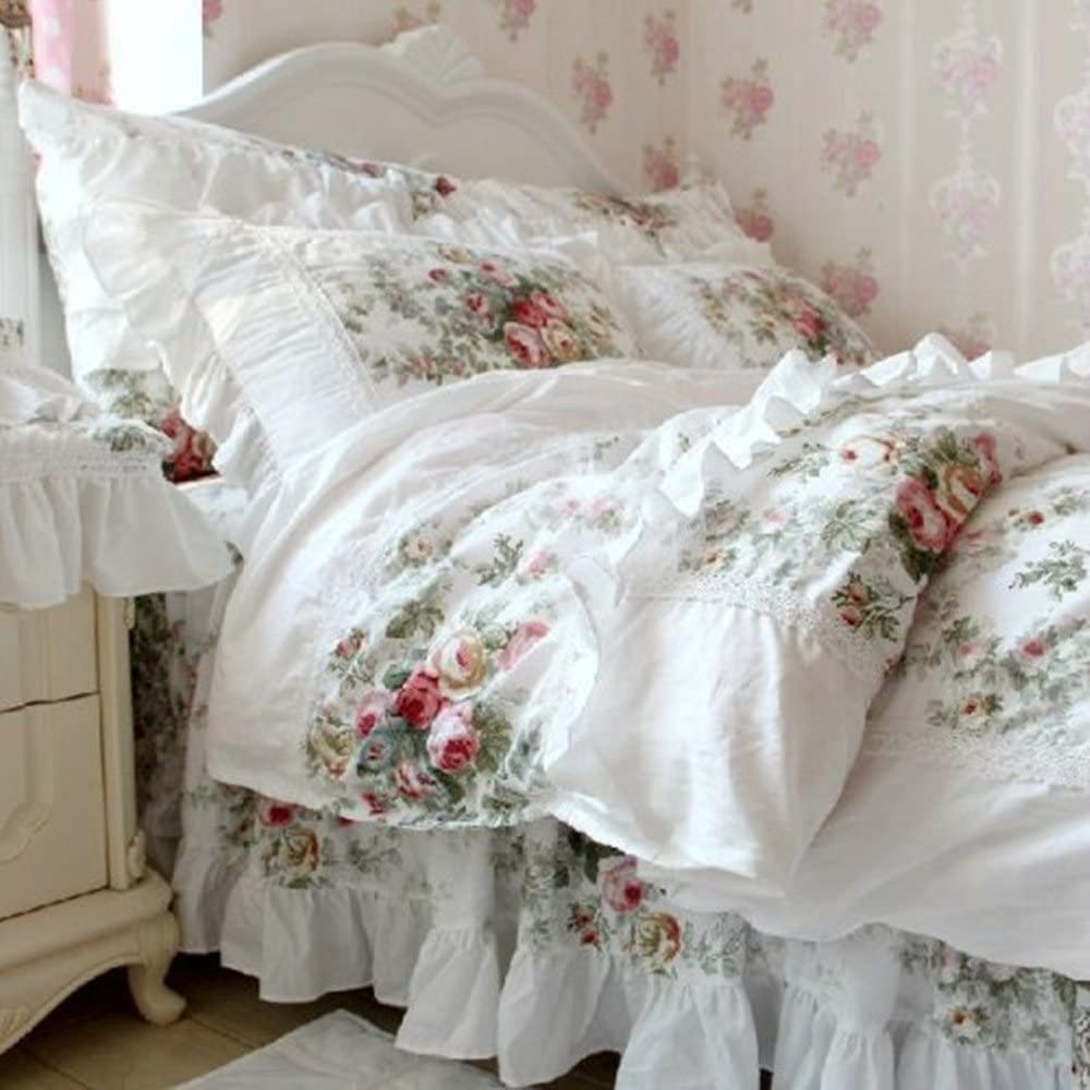 FADFAY Elegant and Shabby Vintage Rose Floral White Duvet Cover Bed skirt Lovely Lace and Ruffle Style Exquisite Craft 100% Cotton Hypoallergenic, Twin Size 4-Pieces