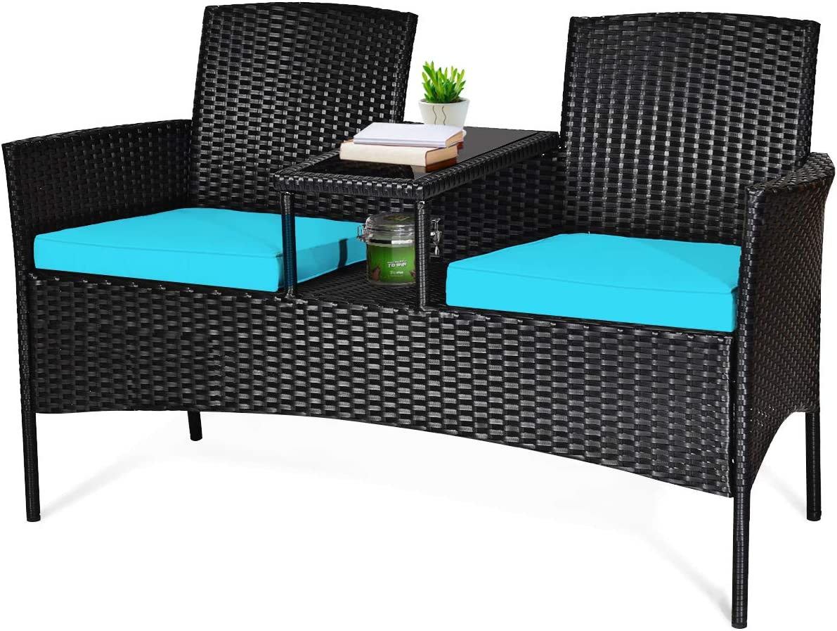 Tangkula Wicker Patio Conversation Furniture Set, Outdoor Furniture Set with Removable Cushions & Table, Tempered Glass Top, Modern Rattan Sofas Set for Garden Lawn Backyard (Turquoise)