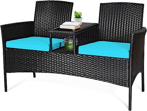 Tangkula Wicker Patio Conversation Furniture Set