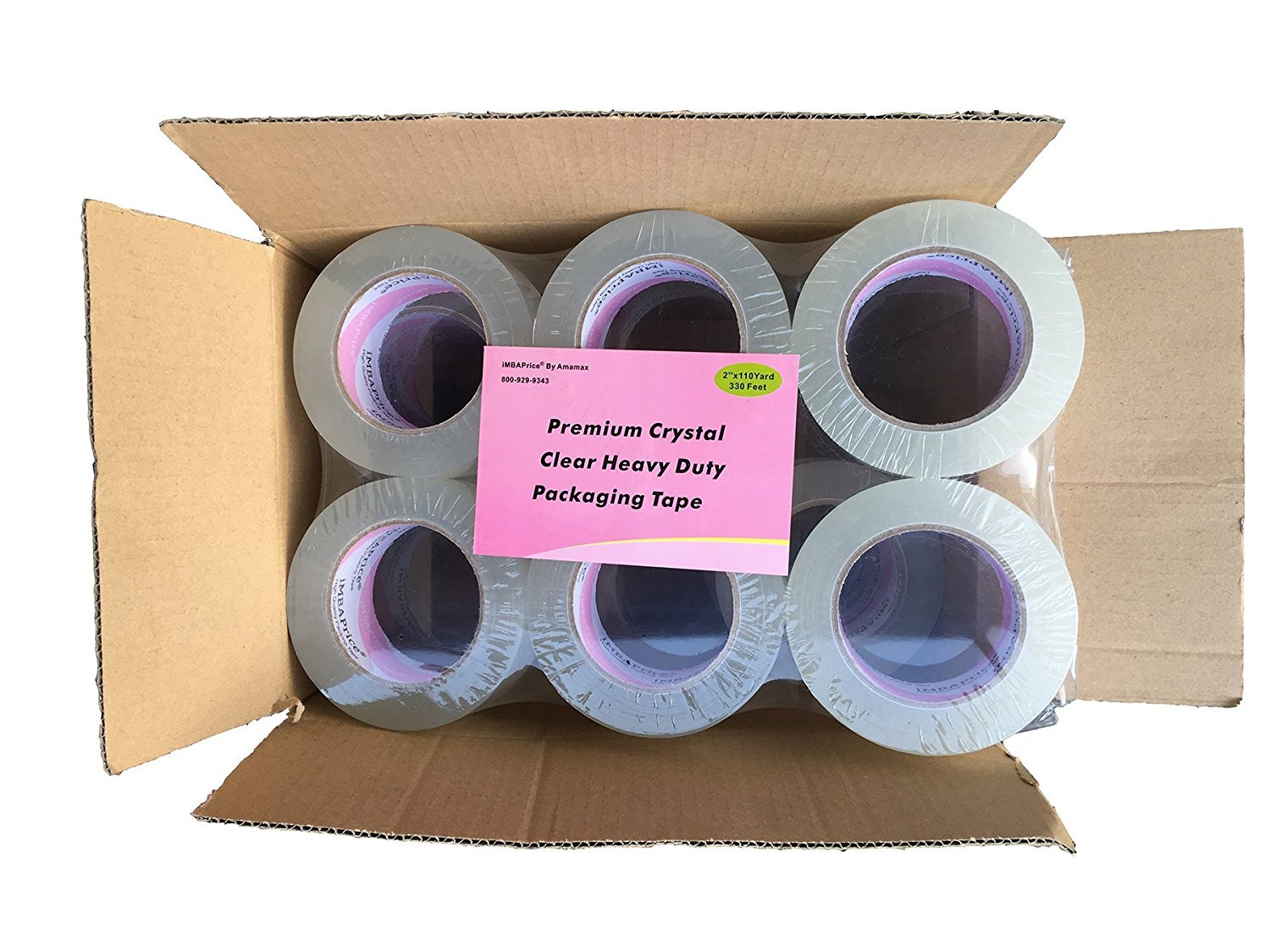 2x330 Feet iMBAPrice Premium Packing Tape 2 Wide 2.6 mil Heavy Duty Ultra Clear Extra Long Lasting Shipping Packaging Tape - 2 Roll of 110 Yards Total 220 Yards
