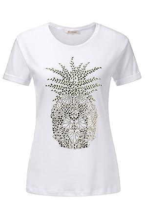 erstklassiger Profi Großhandelsverkauf unschlagbarer Preis rich & royal T-Shirt mit Applikation, Farbe:Weiß, Größe:L ...