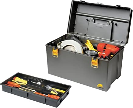 """Plano Power Tool Box 19/"""" Portable Durable Toolbox w// Tray in Yellow"""