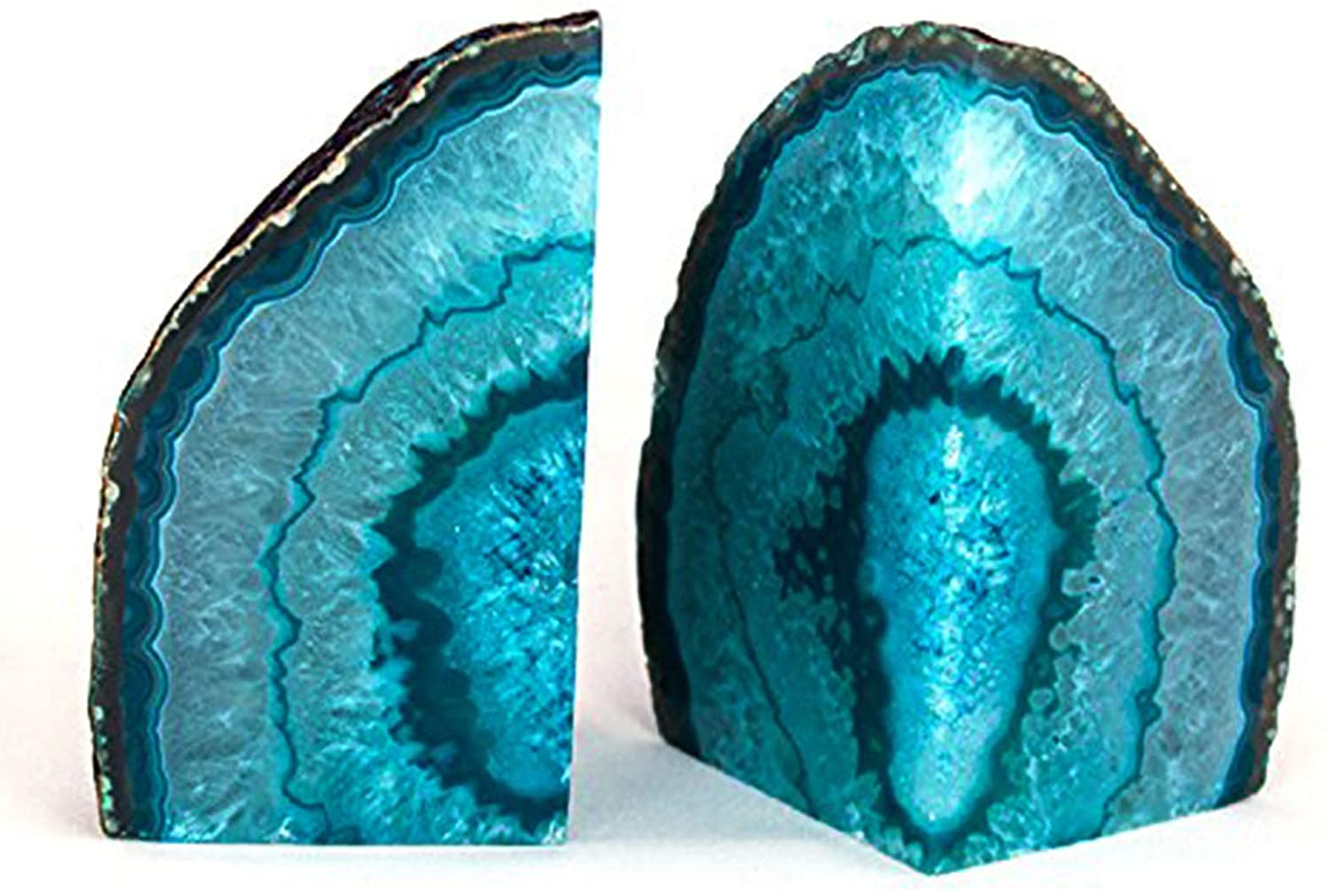 AMOYSTONE Agate Bookends Teal Pair 2-3 lbs Dyed Cut Agate Stone with Rubber Bumpers