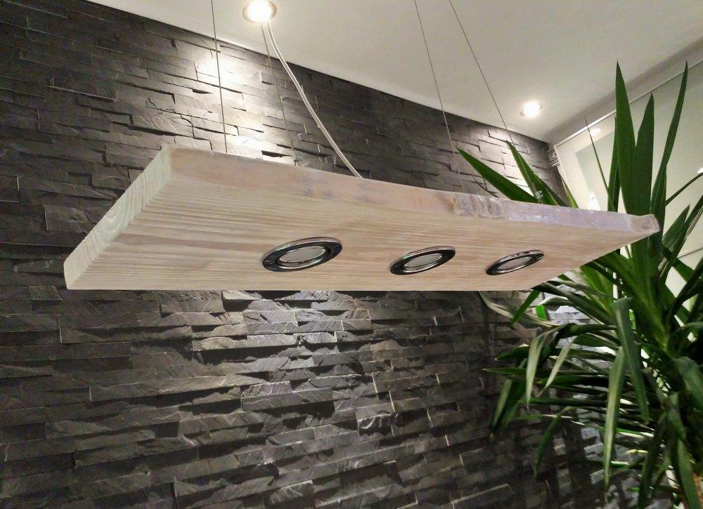 Deckenlampe Hängelampe Hängelampe Hängelampe Pendelleuchte Holz mit LED´s GU10 Hängeleuchte Shabby (Weiß, strukturiert, lackiert, 80 cm mit 3 Spots) 29a886