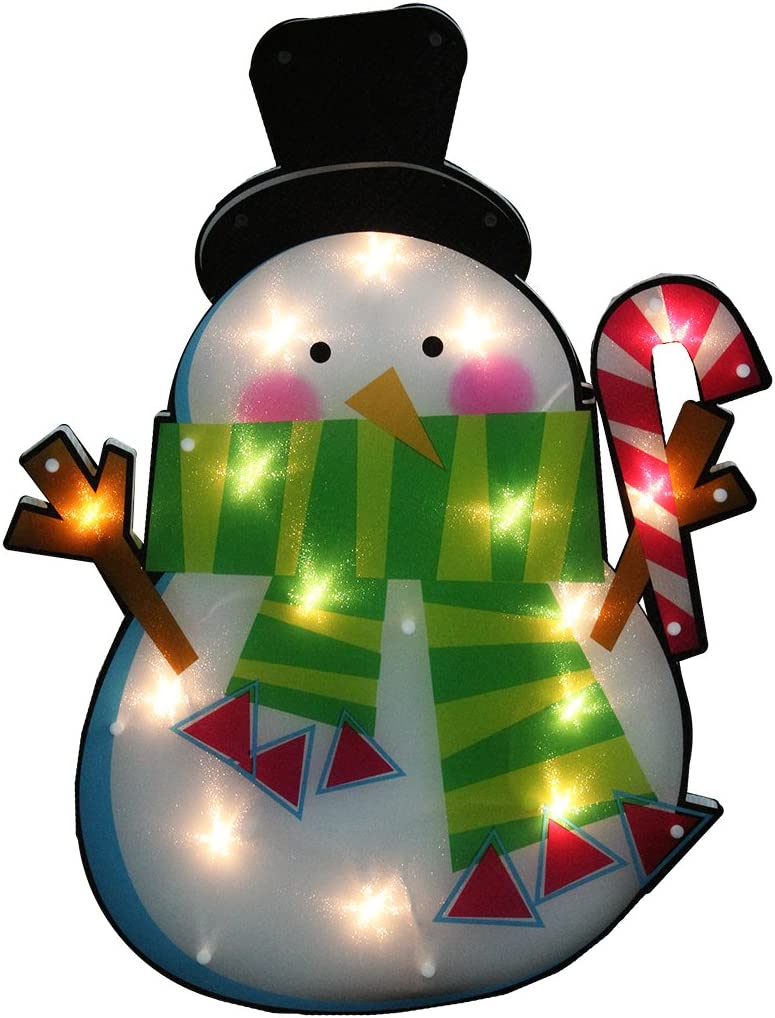 IMPACT 23.75 Lighted Shimmering Snowman with Candy Cane Christmas Window Silhouette Decoration