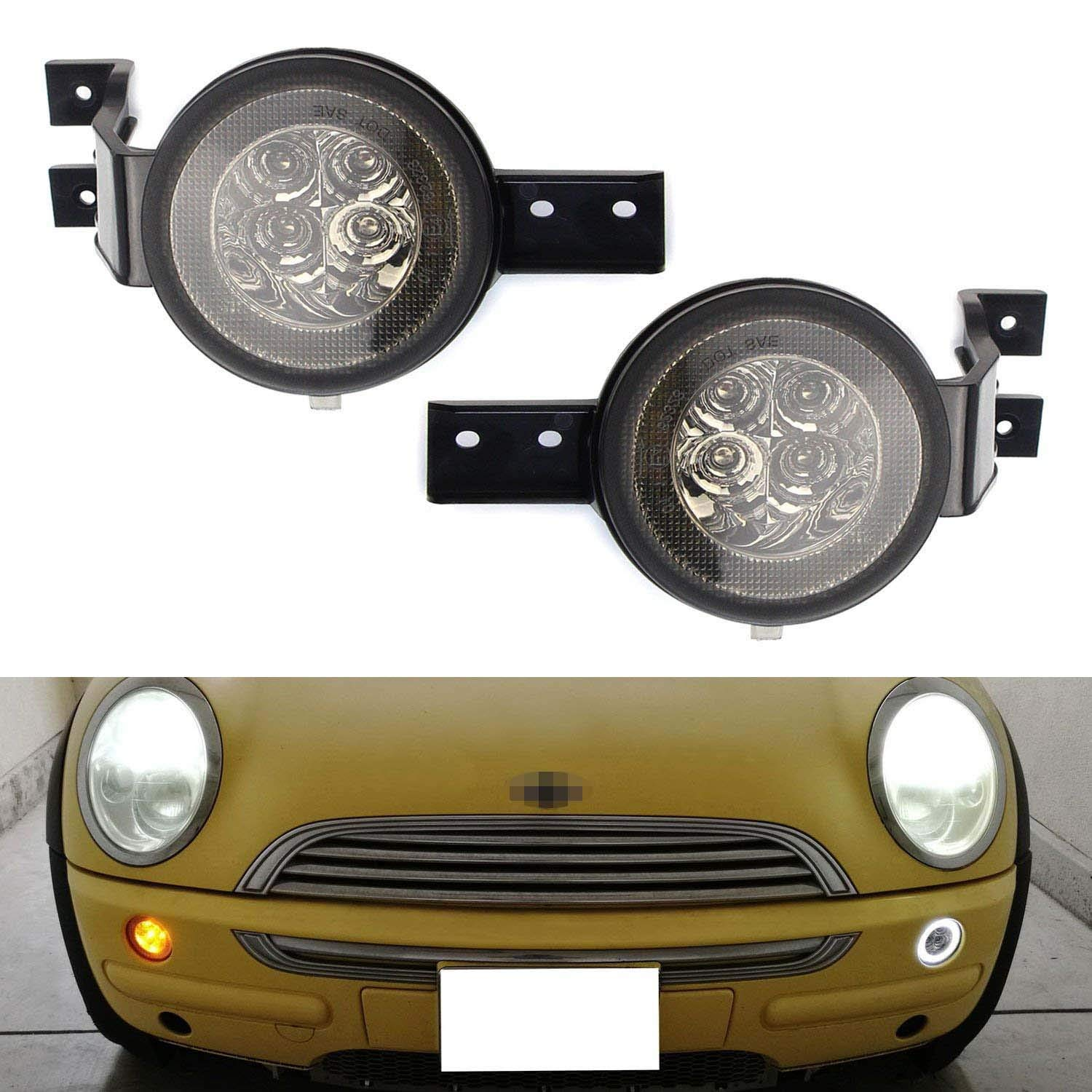 iJDMTOY Smoked Lens White LED DRL Parking Light/Turn Signal Compatible With 02-06 MINI Cooper R50 R53 Hatchback & 05-08 R52 Convertible, OEM Fit White Daytime Running Lights & Amber Turn Signal Lamps