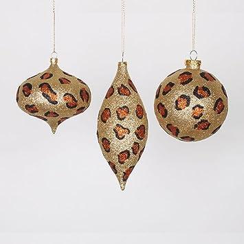 "Set of 3 Diva Safari Glitzy Cheetah Gold, Copper and Black Christmas  Ornaments 7"" - Amazon.com: Set Of 3 Diva Safari Glitzy Cheetah Gold, Copper And"