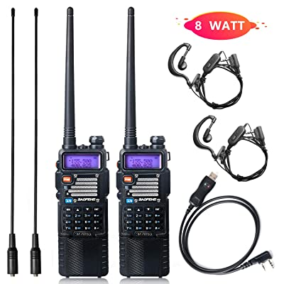 Ham Radio Baofeng Radio 8Watt Baofeng Walkie Talkie with Rechargeable 3800mAh Battery UHF VHF Dual Band 2-Way Radio with TIDRADIO Driver Free Programming Cable 2 Pack: Car Electronics