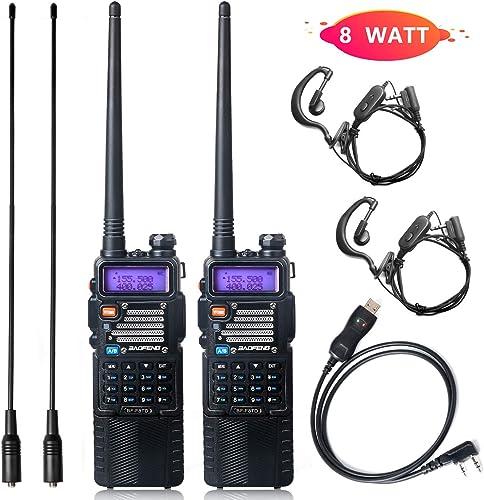 Ham Radio Baofeng Radio 8Watt Baofeng Walkie Talkie with Rechargeable 3800mAh Battery UHF VHF Dual Band 2-Way Radio with TIDRADIO Driver Free Programming Cable 2 Pack