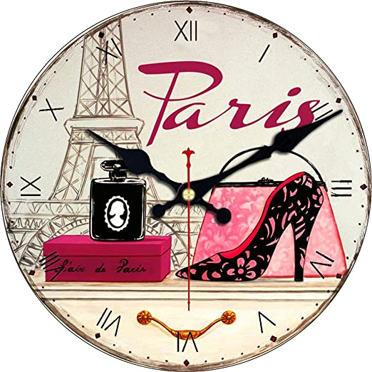 Hippih Silent Round Wall Clocks Living Room Decorative Vintage Country French Style Wooden Clock 12 Inches Round Eiffel Domeikavos Vila Lt