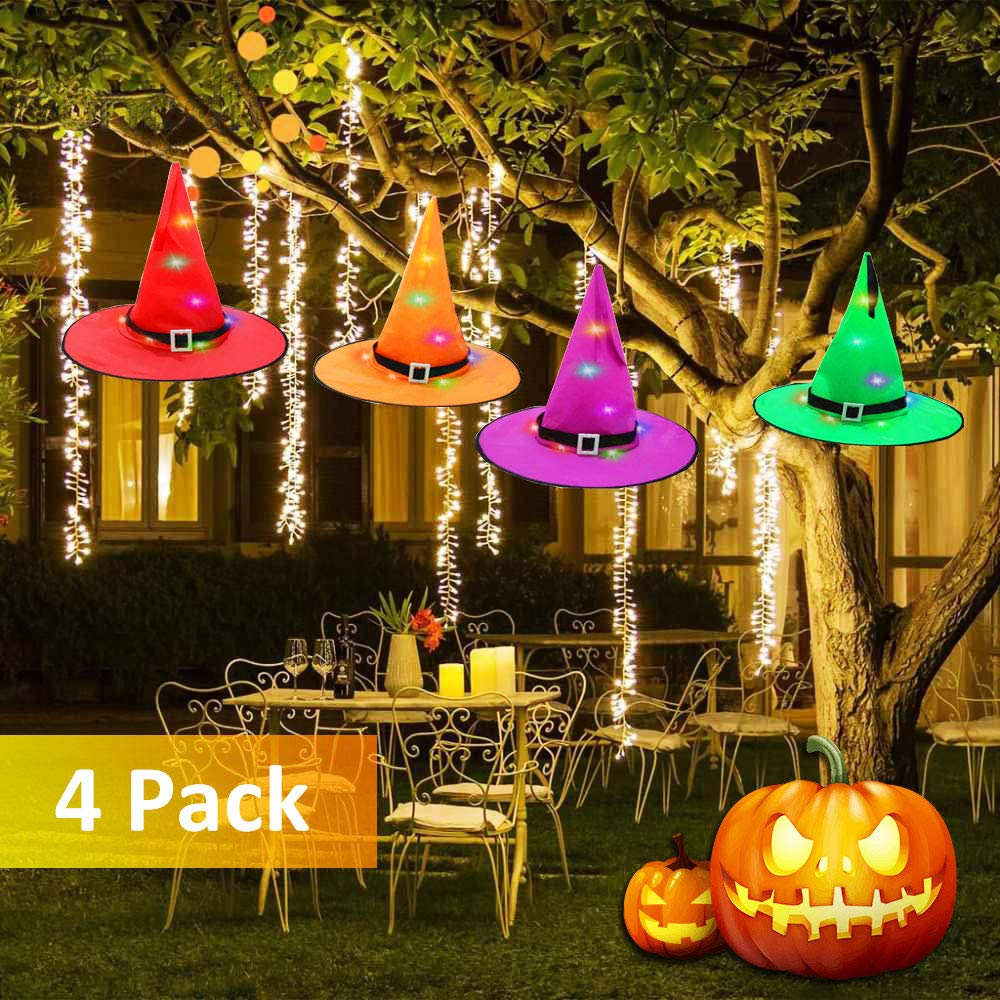 AUSPICE Halloween Decorations Outdoor Hanging Witch Hat  Lighted Glowing Witch Hat String Lights Battery Operated Halloween Decor for Outdoor Yard Tree Party Indoor 4pc