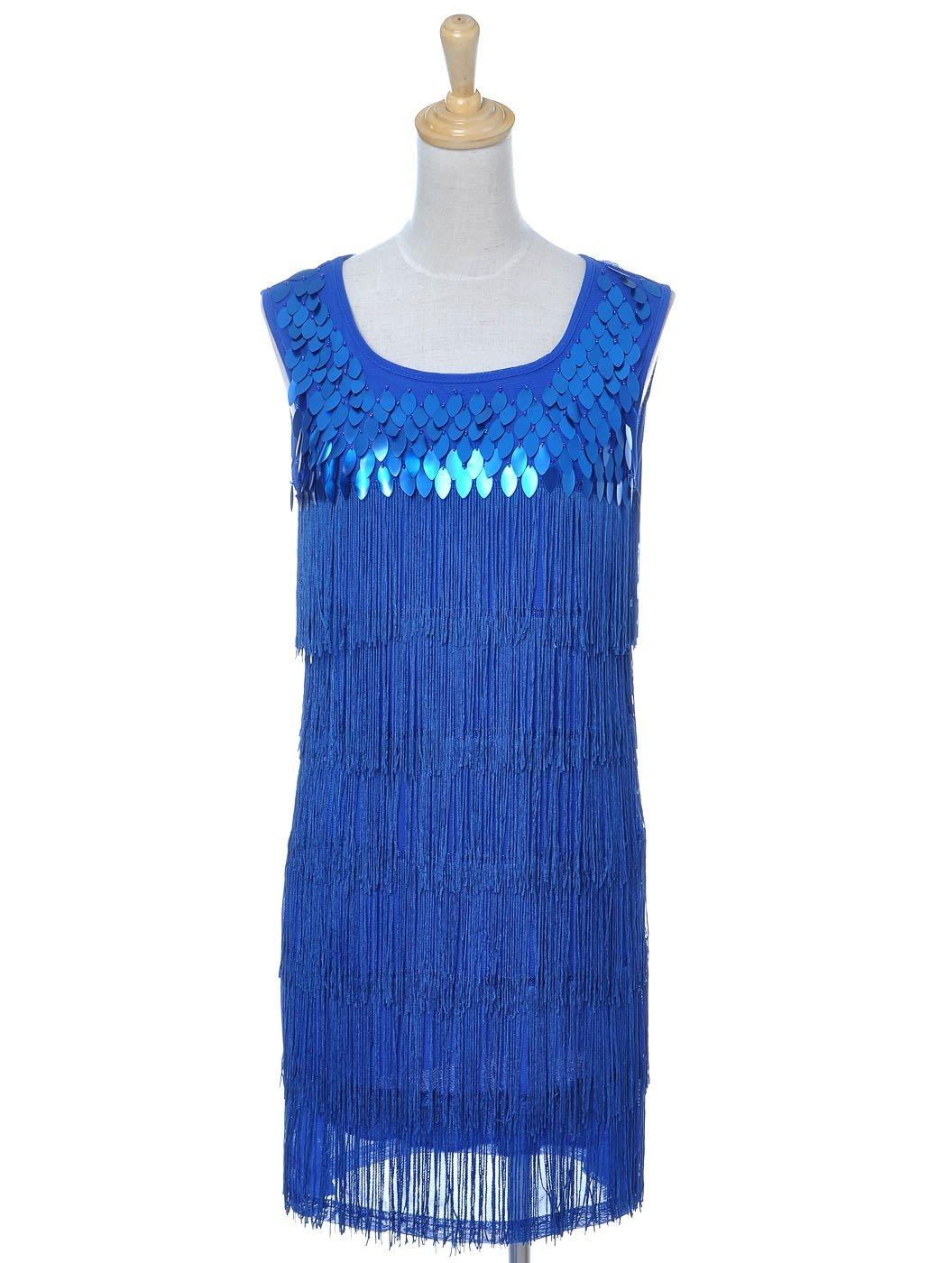 Anna-Kaci Damen 1920er Gatsby Pailletten Schwingen Franse Troddel Flapper  Scoop Neck Sleeveless Kleid: Amazon.de: Bekleidung